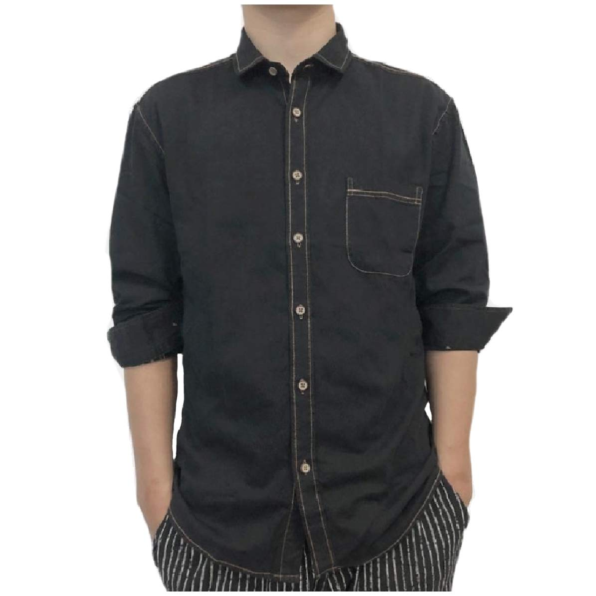 Comaba Mens Long-Sleeve Fine Cotton Big and Tall Button Up Work Shirt