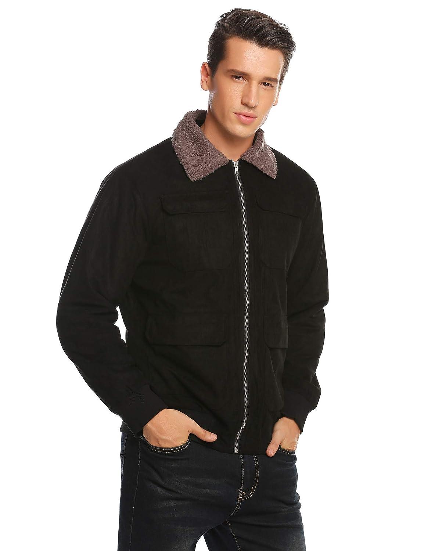 COOFANDY Mens Quilt Lined Faux Suede Sherpa Jacket Winter Outwear Trucker Coat