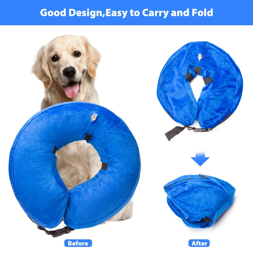 Holysteed Dog Inflatable Collar Protective Dog Collar Pet E-Collar Design to Prevent Pets from Biting and Scratching at Injuries,Stitches, Wounds, and Rashes Blue - Extra Large
