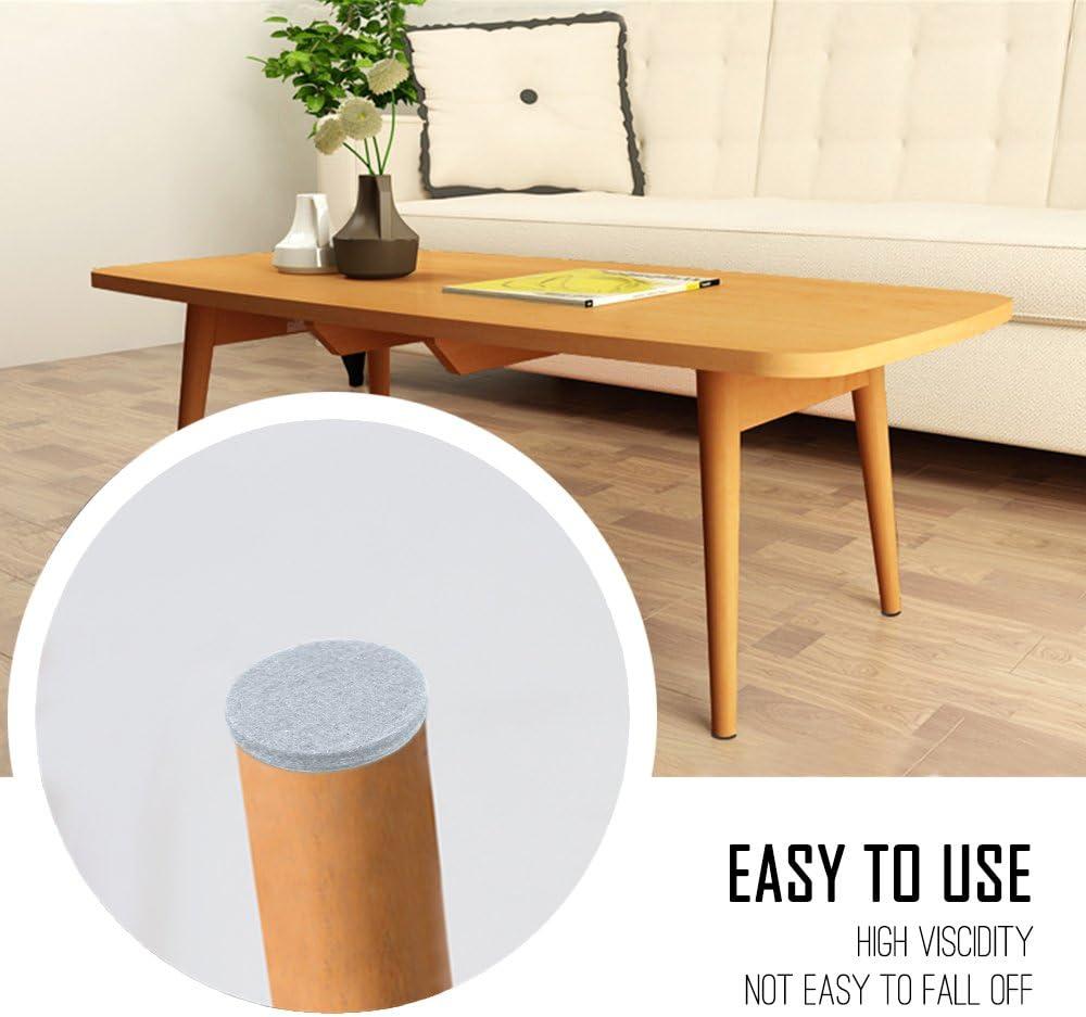 60 unidades, 2,5 cm, fieltro antideslizante color blanco YuCool Almohadillas de fieltro antideslizantes para muebles