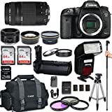 Canon EOS 7D Mark II DSLR Camera with Canon EF 75-300mm f/4-5.6 III Lens + Canon EF 50mm f/1.8 STM Lens + Automatic Flash With LED Video Light + Battery Grip + W-E1 Wi-Fi Adapter