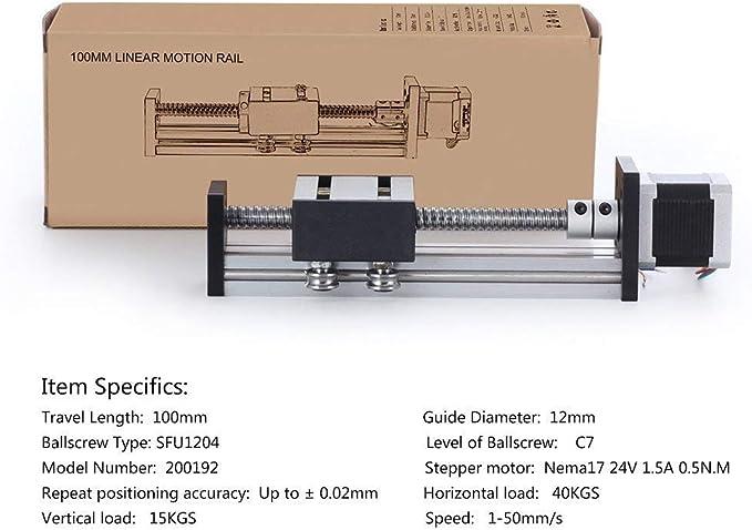 DIY CNC Router Teile f/ür X Y Z-Achse Linear Stage Actuator Router Kugelumlaufspindeln SFU1204 mit Nema17 42 Schrittmotor 100mm Linearschienenrutsche 3.94 Zoll