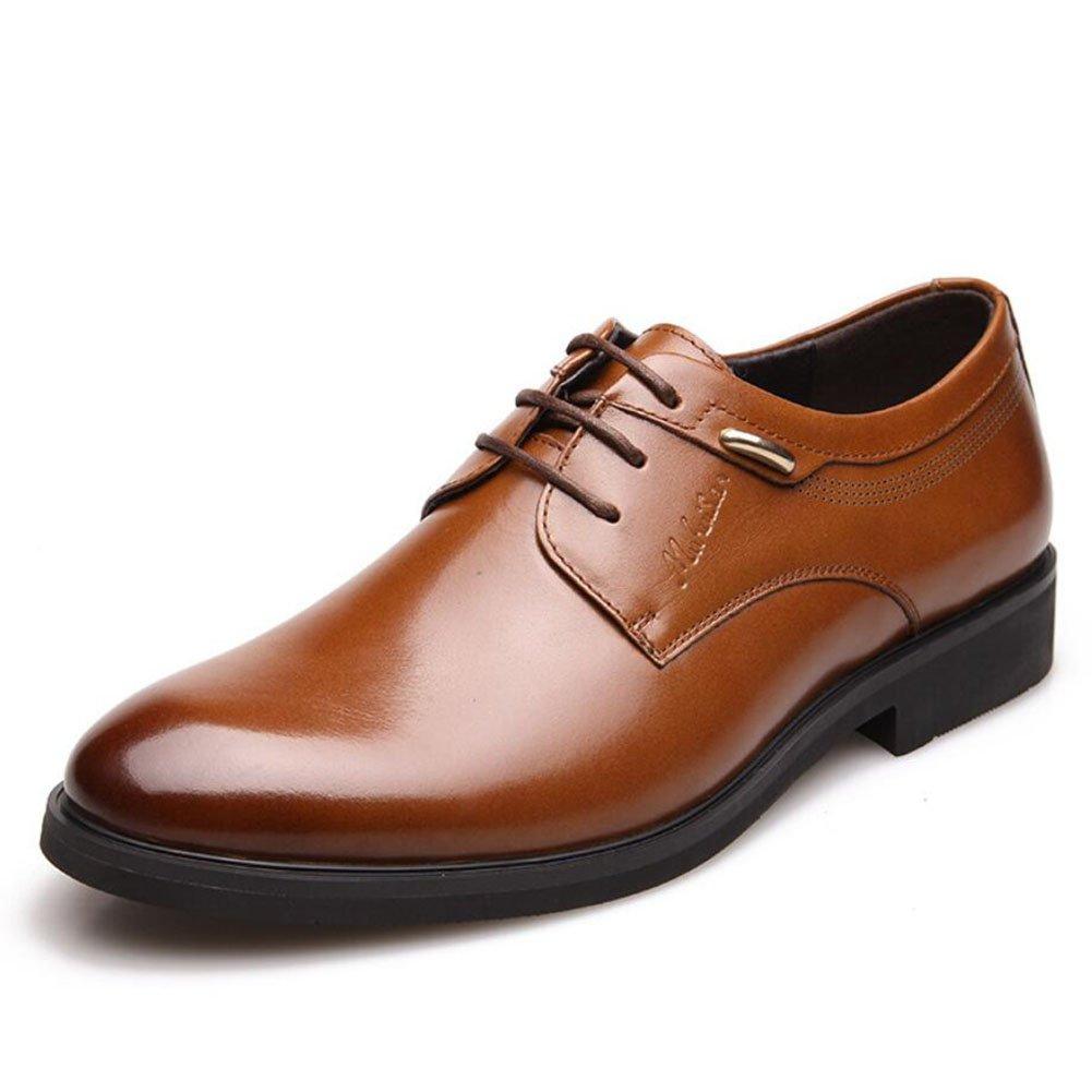 CAI Herren Formelle Schuhe Vier Jahreszeiten Neue Herren Business Kleid Schuhe British LUN Runde Kopf Schuhe Low-Top Lace-up Büro Party Freizeitschuhe (Farbe   Braun Größe   40)