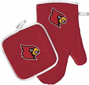 Pro Specialties Group Oven Mitt and Pot Holder Set - Barbeque BBQ Kitchen Backyard Outdoors - NCAA - Louisville Cardinals