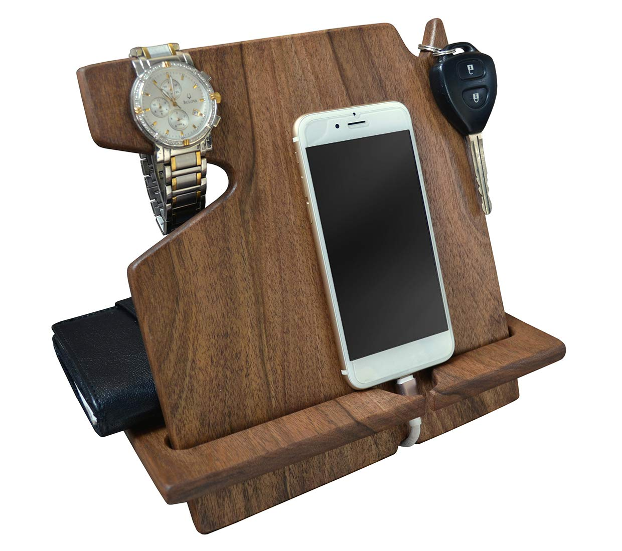 Wood Phone Docking Station, Walnut Desk Organizer, Tablet Holder, Key, Coin, Wallet Purse, Watch Stand, Handmade Men Graduation Gift, Husband Anniversary, Dad Birthday Idea, Nightstand for Him, Gadget by MyFancyCraft