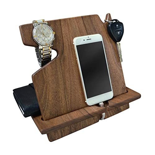 Wood Phone Docking Station Walnut Desk Organizer Tablet Holder Key Coin