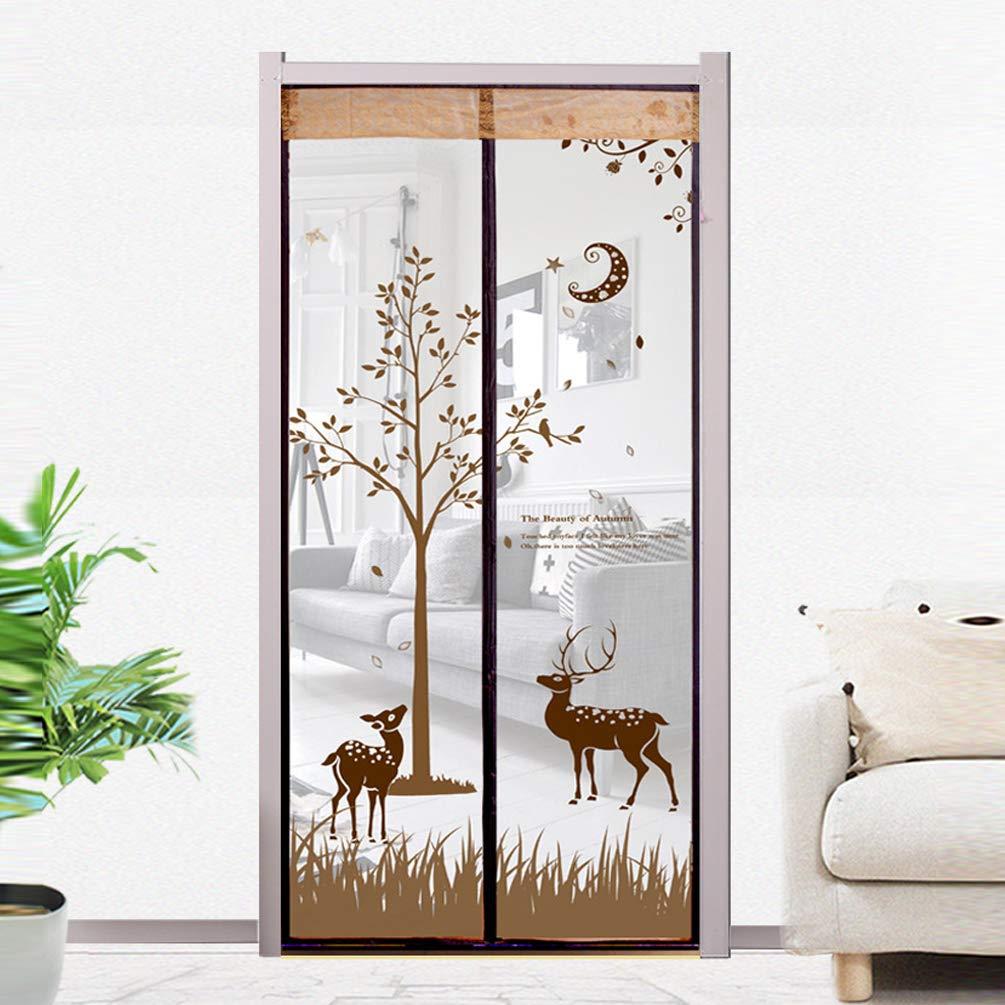 Brown 90200cmMagnetic Screen Door Mosquito Curtains Home Bedroom Elk Screens FlyProof Ventilation Summer Mosquito Door auto snap Shut Sliding Glass Door,Brown,90  200cm