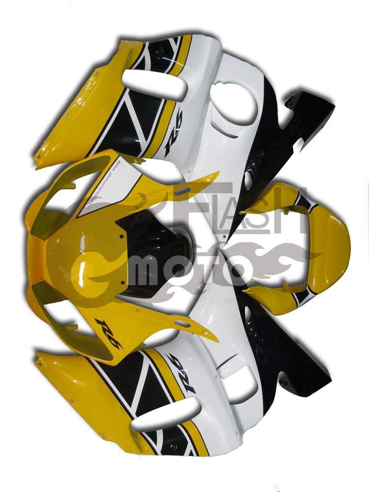 FlashMoto yamaha ヤマハ R6 YZF-600 1998 1999 2000 2001 2002用フェアリング 塗装済 オートバイ用射出成型ABS樹脂ボディワークのフェアリングキットセット (イエロー,ホワイト)   B07LF2TLQV