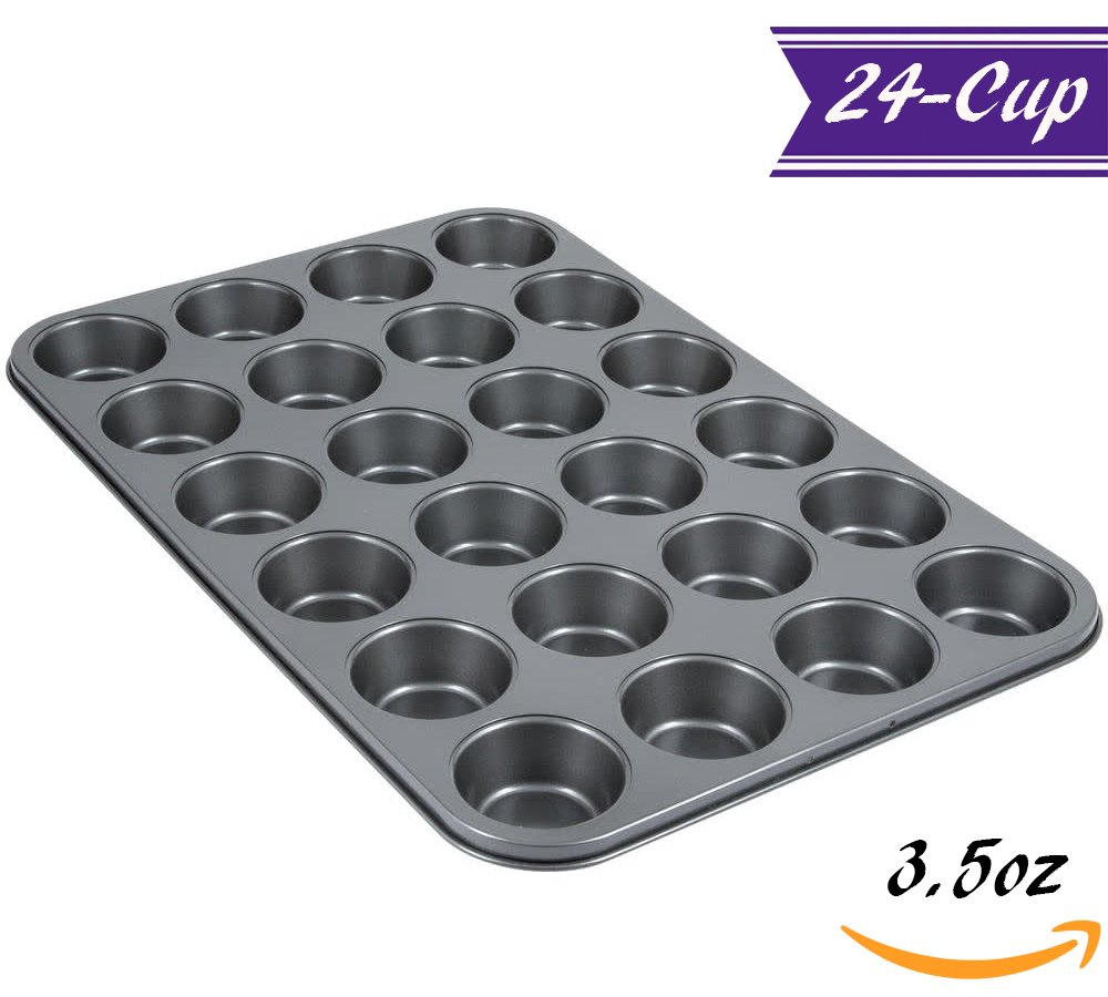 24-Cup Muffin Pan/Large Cupcake Pan by Tezzorio, 20 x 14-Inch Nonstick Carbon Steel Muffin Mold Pan, Cupcake Baking Pans/Muffin Trays, Professional Bakeware