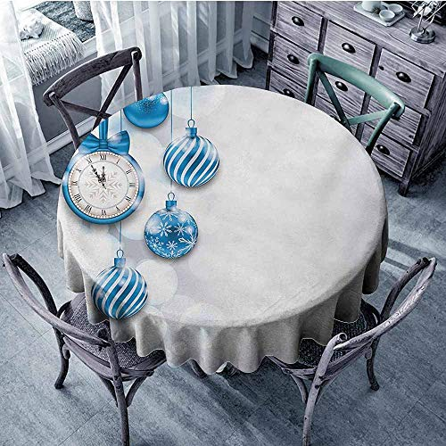 Sumilace Clock Round Tablecloths New Year Theme with A Clock and Glass Balls Illustration Christmas Xmas Celebration Pattern Camping 47