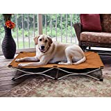 Cheap 1 Piece Tan Large 48 Inches Indoor Outdoor Cooling Elevated Folding Pet Bed, Brown Color Raised Dog Bedding Cot Comfortable Water Resistant Lightweight, Portable Travel Kennels Camping, Canvas Steel