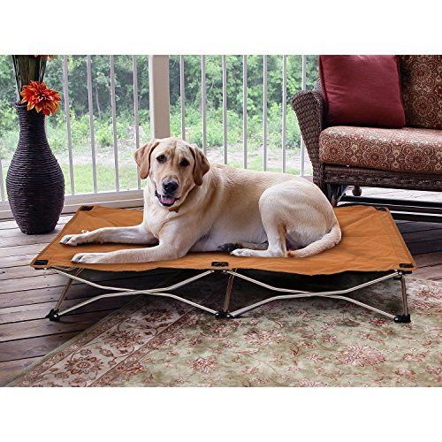 1 Piece Tan Large 48 Inches Indoor Outdoor Cooling Elevated Folding Pet Bed, Brown Color Raised Dog Bedding Cot Comfortable Water Resistant Lightweight, Portable Travel Kennels Camping, Canvas Steel