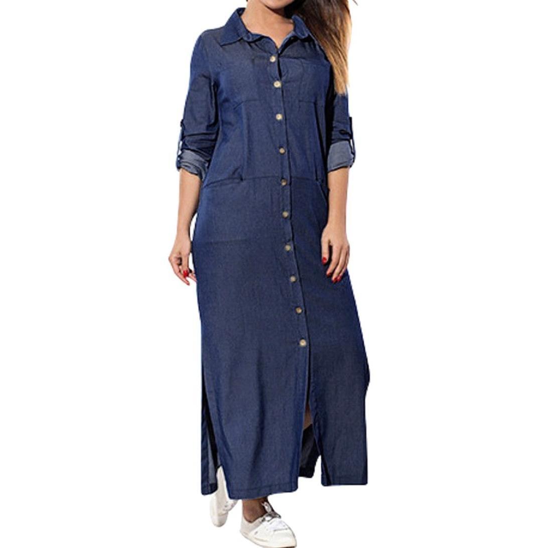 baskuwish Women's Solid Color Pocket Long Sleeve Denim Dress Swing T-Shirt Long Sleeve Dress (Navy, M)