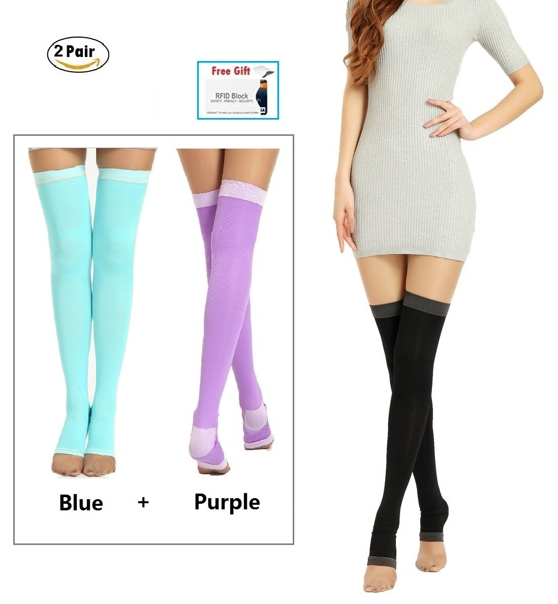 2Pair Yoga Sleep Therapeutic Thigh-high Compression Socks Toeless S/M + Small gift CNMY