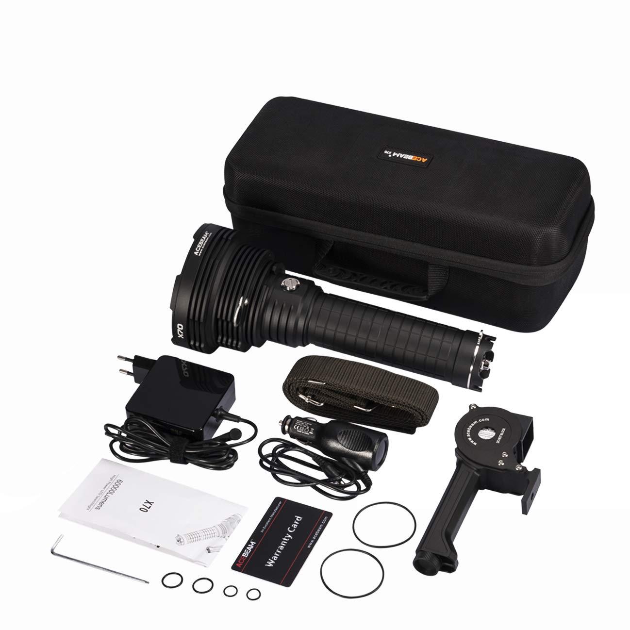 ACEBEAM X70 Brightest Flashlight 60,000 Lumens Cree XHP70.2 + XHP35 LED 3773ft Long Throw Super High Lumens Flashlight Built-in Battery