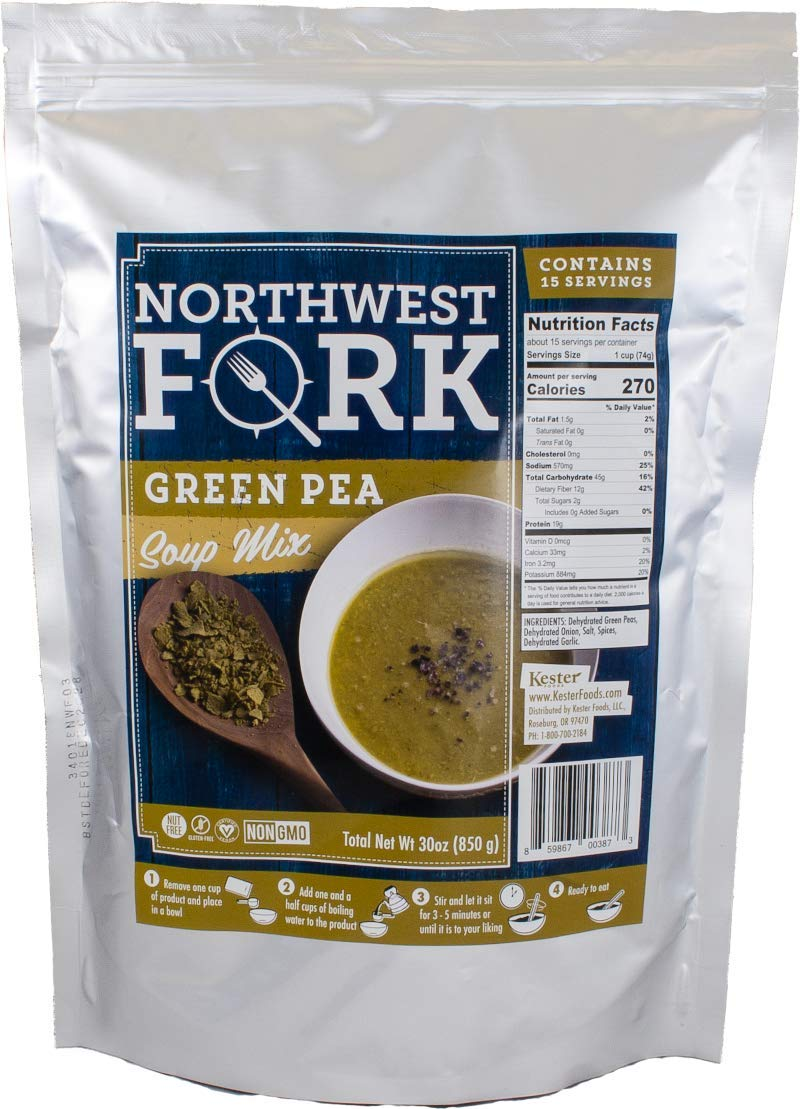 NorthWest Fork Green Pea Soup (Gluten-Free, Non-GMO, Kosher, Vegan) 15 Serving Bag - 10+ Year Shelf Life