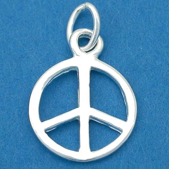 15 Peace Sign Flower Antique Silver Tone Charms SC6381