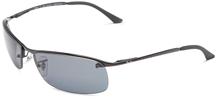 Ray-Ban Mens RB3183 Rectangular Metal Sunglasses