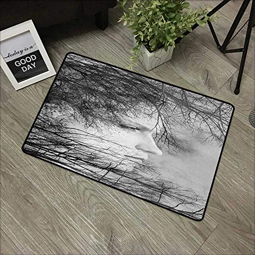 (Bathroom Anti-Slip Door mat W16 x L24 INCH Black and White,Woman Face Among Tree Branches Double Exposure Effect Artistic Print,Black and White Non-Slip Door Mat)