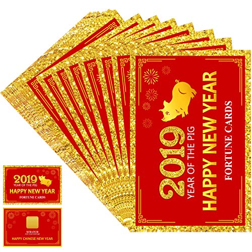 Frienda 24 Pieces 2019 Chinese New Year Fortune Cards, Year of The Pig Party Scratch Off Fortune Games, Laminated Fortune Teller Cards