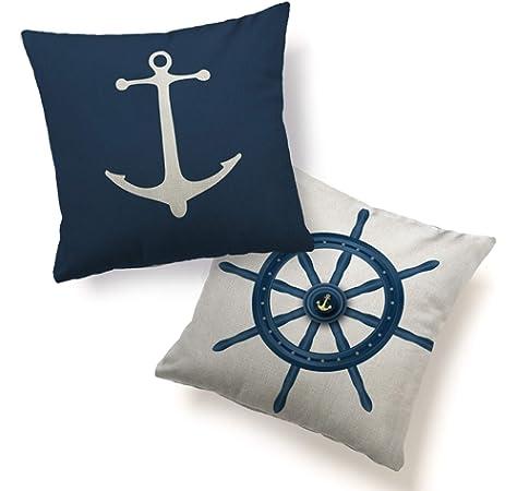 Home Decoration Cushion Cover Pillowcase Nautical Sea Sailing Pillow Case Q