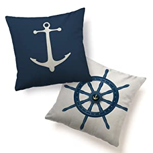 """HUABEI Pillow Cover Cushion Case 2 Pack Home Decorative Print Anchor Helm Navy Nautical Throw Pillowcases Standard Size 18""""x18"""" Square for Sofa Couch Chair Home Décor Blue White"""