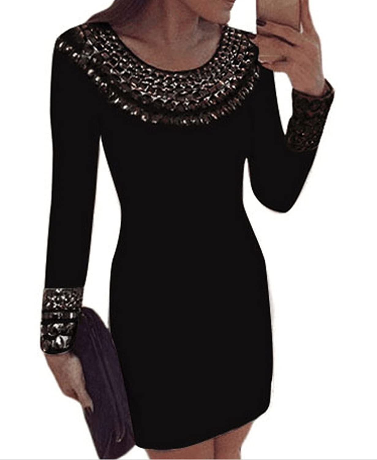 Fempool Women Chic Rivet Scoop Neck Long Sleeves Bodycon Tunic Party Prom Evening Dress