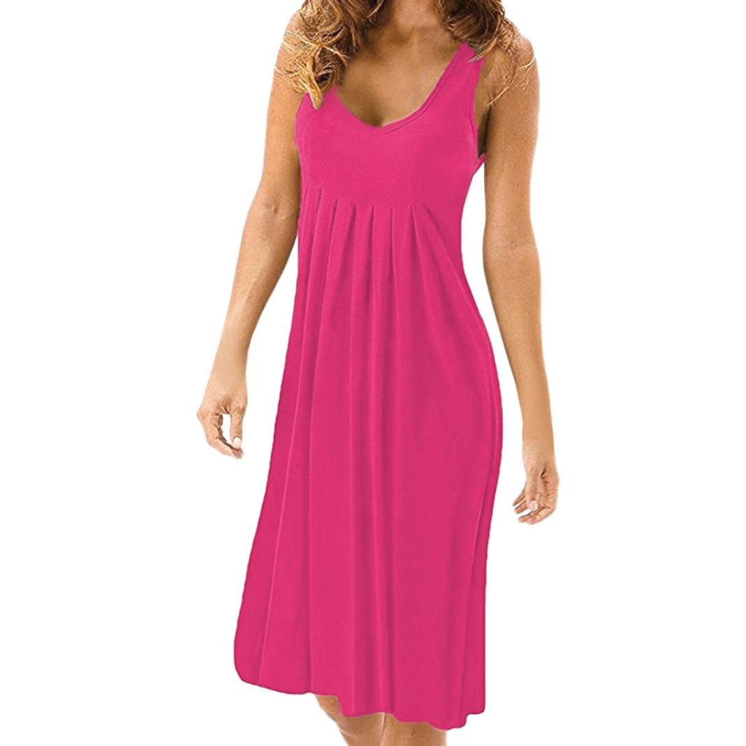 JYC Verano Falda Larga, Vestido De La Camiseta Encaje, Vestido Elegante Casual, Vestido Fiesta Mujer Largo Boda, Verano Sólido Sin Mangas Llanura Plisado ...