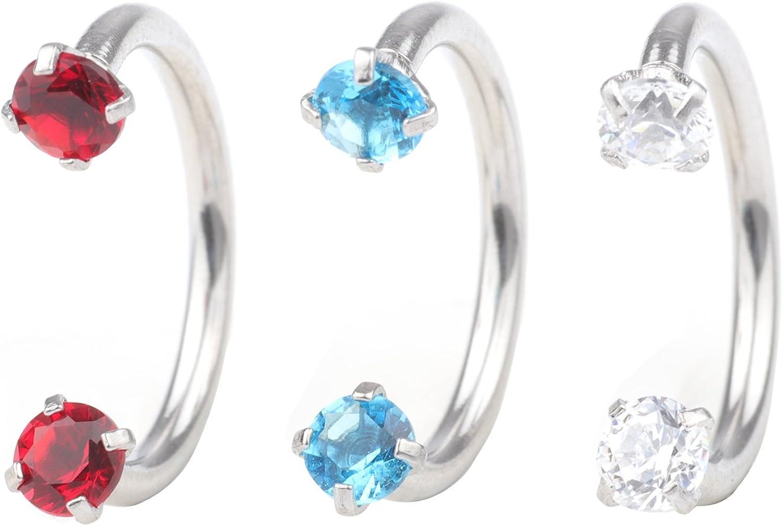 16G CZ Nose Ring Internally Threaded Steel Horseshoe Hoop Ring Prong Set Crystal