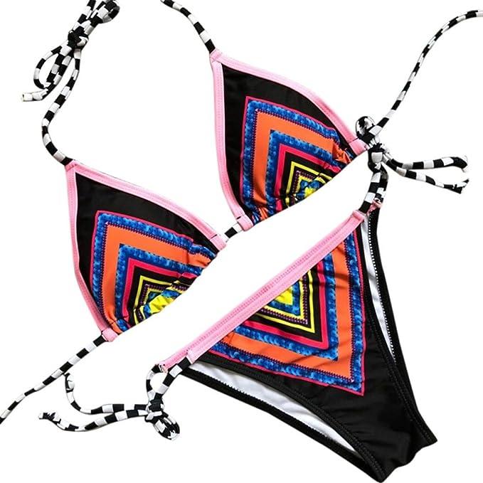 Damen Push Up Gepolstert Bikini Set Lace Up Badeanzug Tankini Strandkleidung