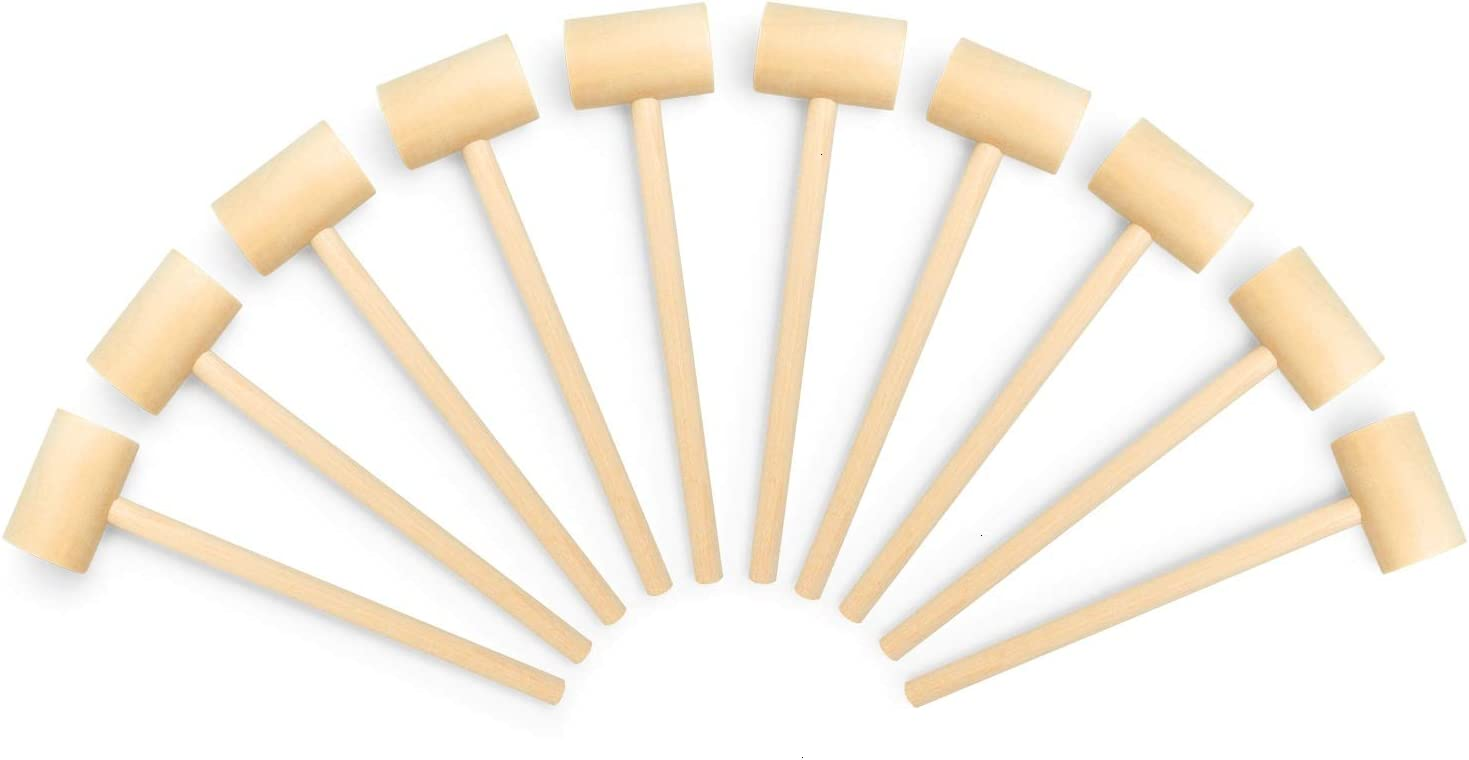 Gonioa 10Pcs Natural Wooden Crab Mallet Seafood Lobster Shellfish Cracker Hardwood Hammer for Making Crab Cakes, Gumbo, Lobster roll and More