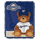 MLB Milwaukee Brewers Field Woven Jacquard Baby Throw Blanket, 36x46-Inch