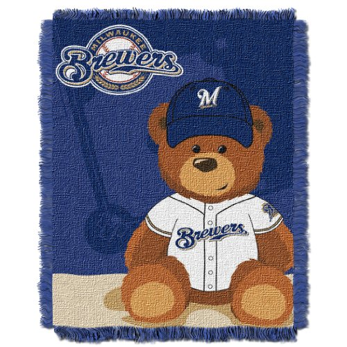 The Northwest Company MLB Milwaukee Brewers Field Bear Woven Jacquard Baby Throw, 36