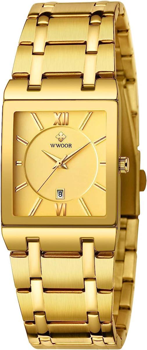 WWOOR - Reloj de Pulsera para Hombre, Cuadrado, Resistente al Agua, analógico, de Cuarzo, de Acero Inoxidable, para Negocios, Casual, Unisex, Color Negro y Dorado