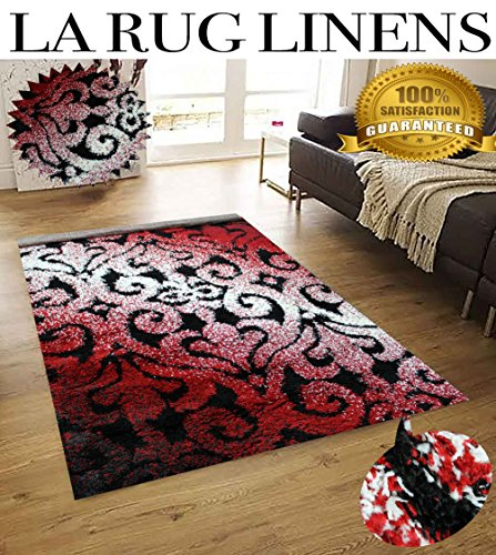LA RUG LINENS HUGE BLOWOUT SALE New 8x10 Black Red White Shag Shaggy Flokati Fluffy Fuzzy Furry Plush Contemporary Teddy Bear Touch High Pile Rug Carpet Area Rug (Popular 512 Black) (Black Bear Shaggy)