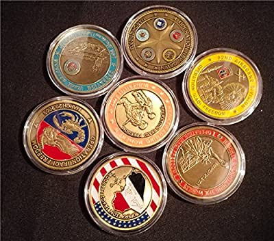 7pcs Set USA Iraq War Anniversary Coins Operation Iraqi Freedom Saint George Star Souvenir Coin
