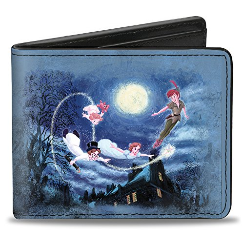 Bi-Fold Wallet - Peter Pan Flying Scene + TAKE ME TO NEVERLAND Blues/Golds/White (Mickey Mouse Hinge Wallets)