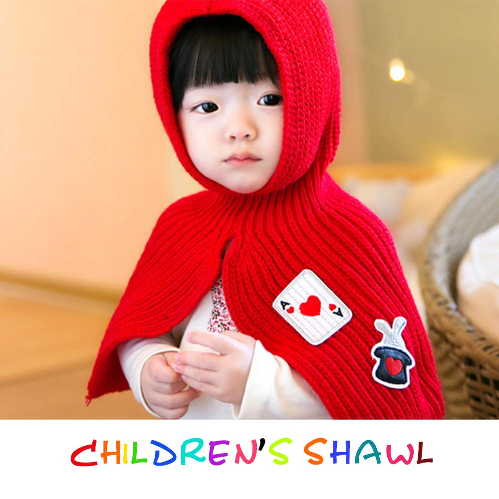 Baby Girls Rabbit Ears Knitted Hat Hooded Scarves Shawl TD6822-1