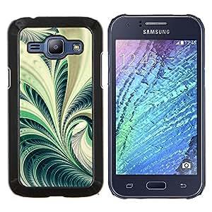 LECELL--Funda protectora / Cubierta / Piel For Samsung Galaxy J1 J100 -- Arte Fern Forest Green Plant Naturaleza Espiral --