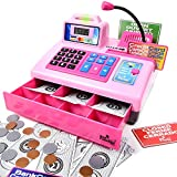 toys for girls cash register - Ben Franklin Toys Talking Toy Cash Register - store learning play set with 3 languages, paging microphone, credit card, bank card and play money