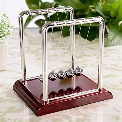 Yuntop Newton Cradle Balance Swing Ball Energy Conservation Physics Square Elastic Model Pendulum Desk Toy Gadget Stress Relief Gift for Kids and Office Decoration: Home & Kitchen