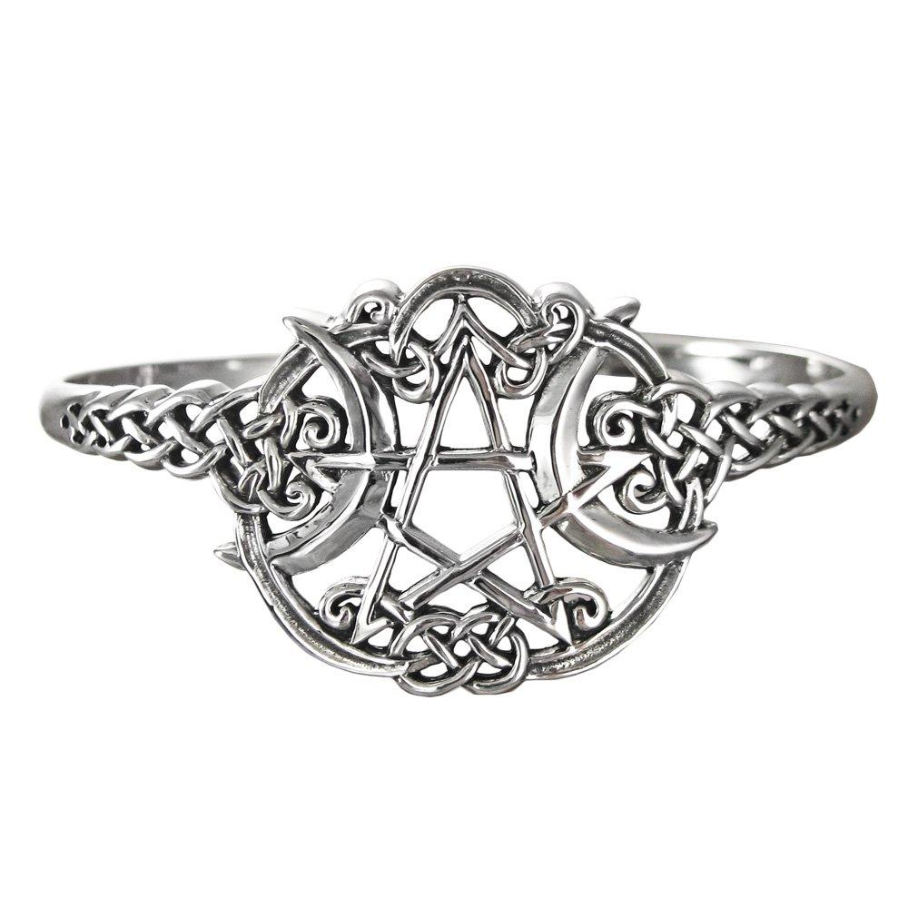Sterling Silver Heart Pentacle Pentagram Bracelet