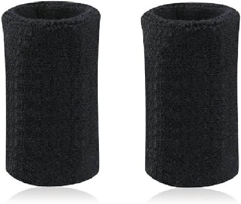 Mcolics 6' Inch Wrist Sweatband in 11 Athletic Cotton Wristbands Armbands (1 Pair) (Black): Clothing