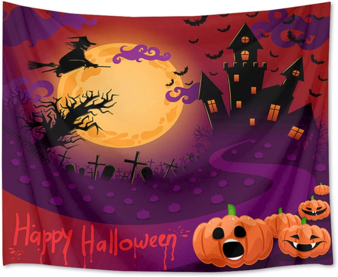 HVEST Halloween Tapestry Pumpkins Witch Grave and Ghost Castle at Scary Night Wall Hanging Full Moon Tapestries for Bedroom Living Room Dorm Party Decor,92.5Wx70.9H inches
