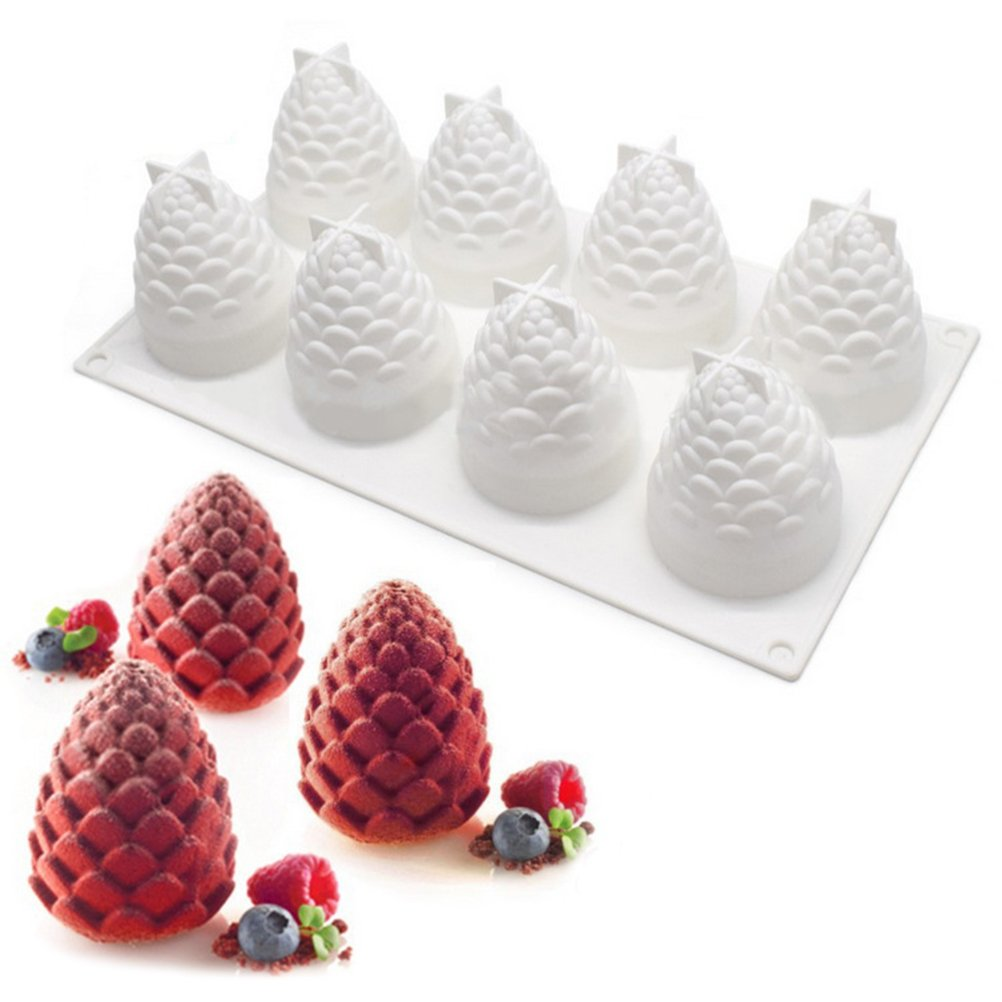 BESTOMZ Silicone Chocolate Molds Pine Cone Shaped Cake Candy Mould Jelly Ice Tray for Handmade DIY