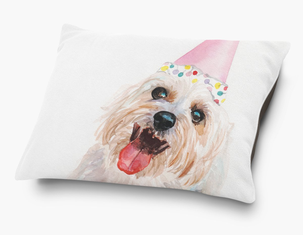 Redstreake Creative Living, Birthday Shih Tzu dog Pet Bed, Coral Fleece Top with Cotton Duck Bottom (dark brown), Zipper with INSERT (30 x 40'')