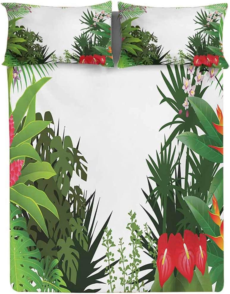 Jungle Fitted Sheet Twin Size,Rainforest Vegetation Tropical Leaves and Flowers Lively Paradise Foliage Nature Decorative Printed 2 Piece Bedding Decor Set,Elasticized Deep Pocket Fits All Mattresses