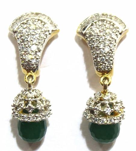 43f6f6cec Buy Jewelshingar Jewellery American Diamond earrings danglers Studs For  Women (8893-ead-green-750) Online at Low Prices in India   Amazon Jewellery  Store ...
