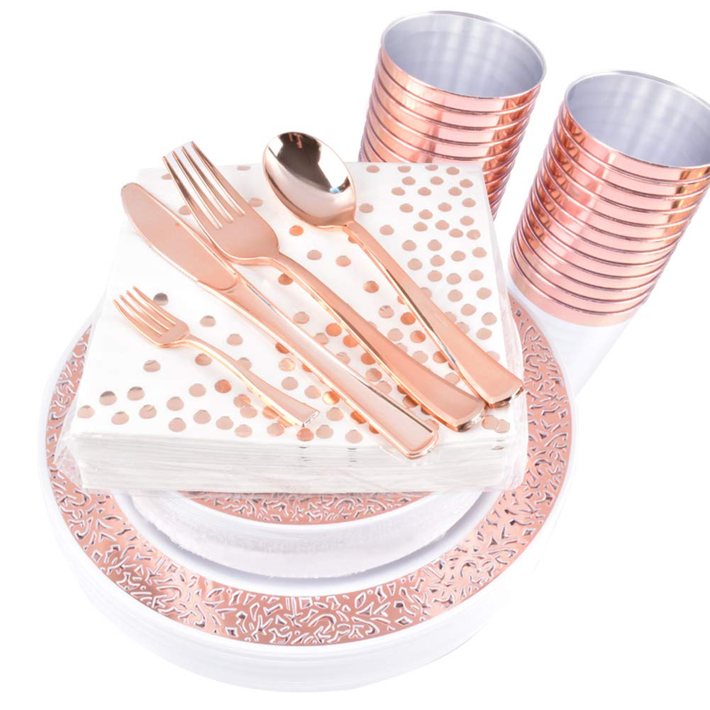 225 Piece Rose Gold Plastic Plates with silverware dispose,Rose Gold Cups-include 25 Dinner Plates, 25 Salad Plates, 25 Forks, 25 Knives, 25 Spoons &Plastic Cups/Bonus 25 Mini Forks for 25Guest