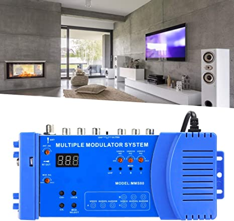 kompatibel mit TV-Box optional PAL//NTSC MMS80 Home Modulator 100-240 V. UHF-Modulator Audio- und Videoquellen Mehrfachmodulationssystem aus Aluminiumlegierung